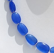 16 inch strand Navy Blue Chalcedony Faceted Nugget