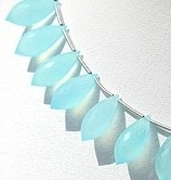 8 inch strand Sea Blue Chalcedony Chandelier Briolette