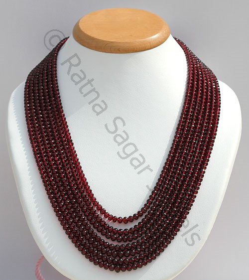 Garnet Gemstone Faceted Rondelle Necklace