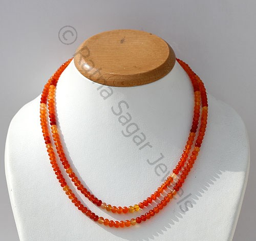 Carnelian Gemstone  Faceted Rondelle