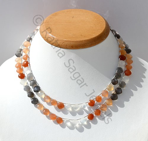 Peach Moon Stone Cushion Shape beads