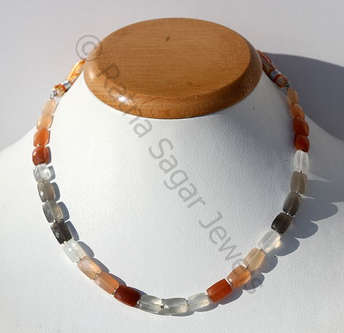 Peach Moon Stone Faceted Rectangles