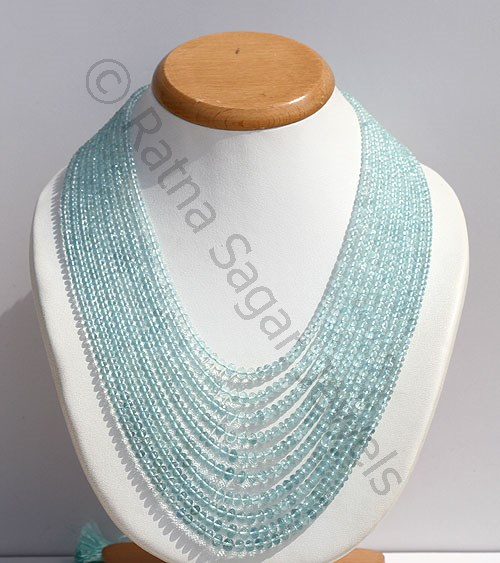 Aquamarine Faceted Rondelle Necklace