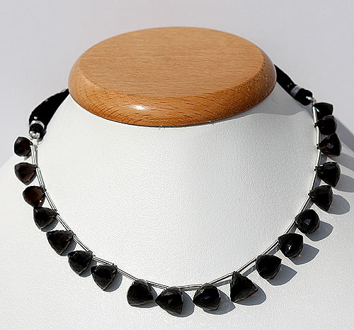 Black Spinel faceted chestnut beads