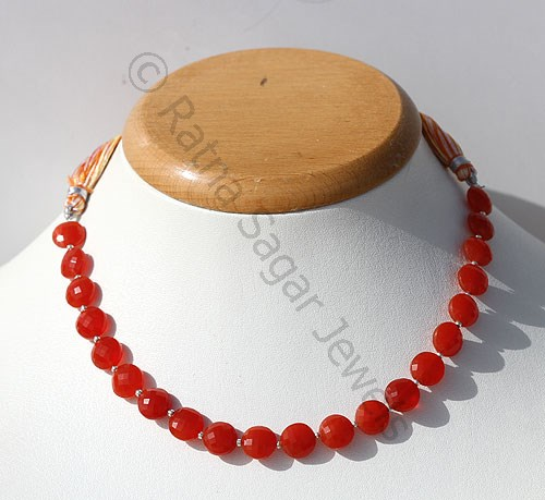 Carnelian Gemstone Faceted Coin