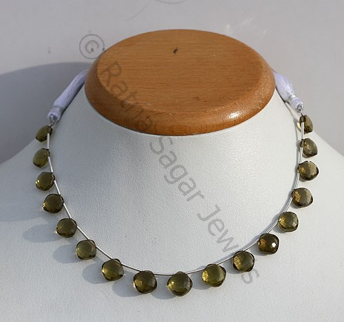 Olive Quartz Puffed Diamond Cut