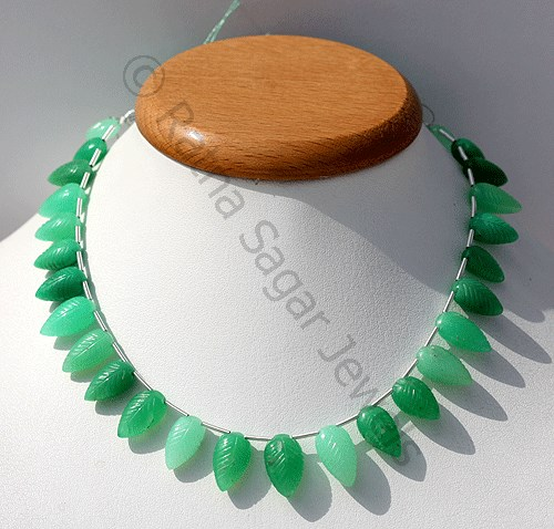 Chrysoprase Gemstone Carved Leaf