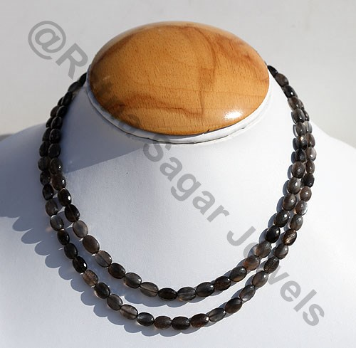 Black Moonstone Faceted Oval