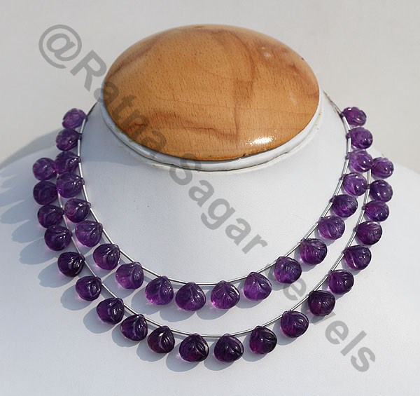 Amethyst Gemstone Carved Heart Beads