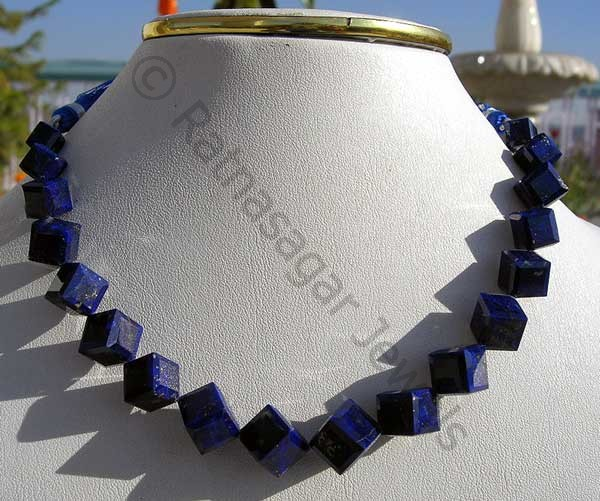 Lapis Gemstone Faceted Cube