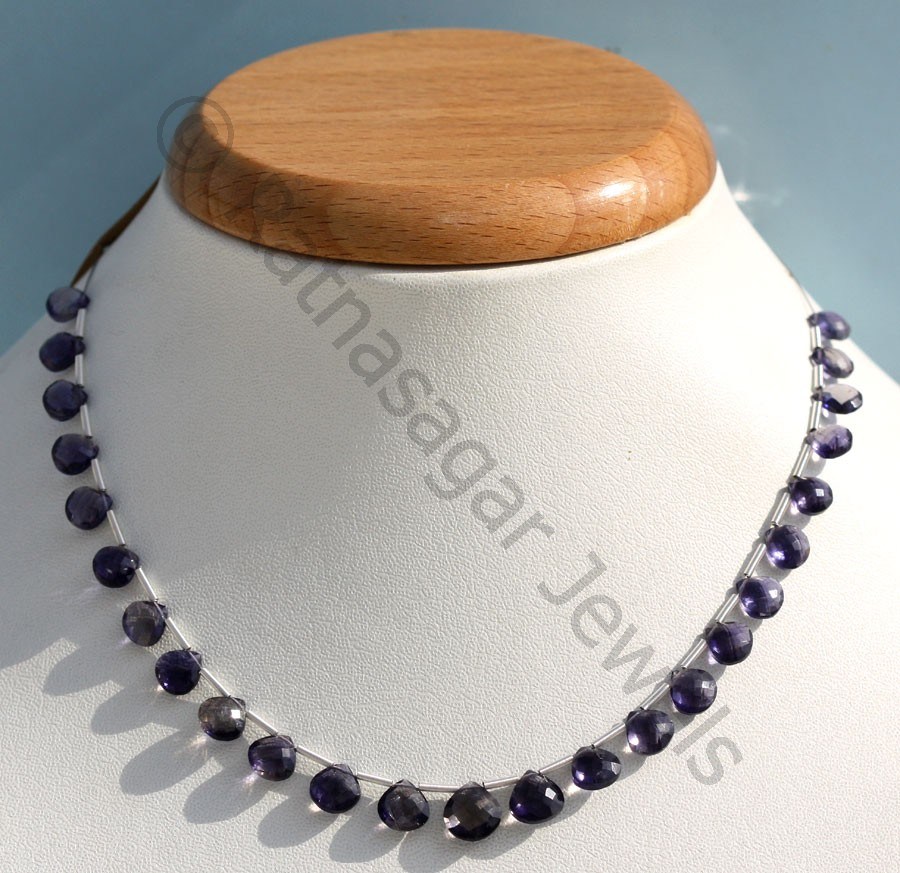 Iolite Gemstone Beads  Heart Briolette
