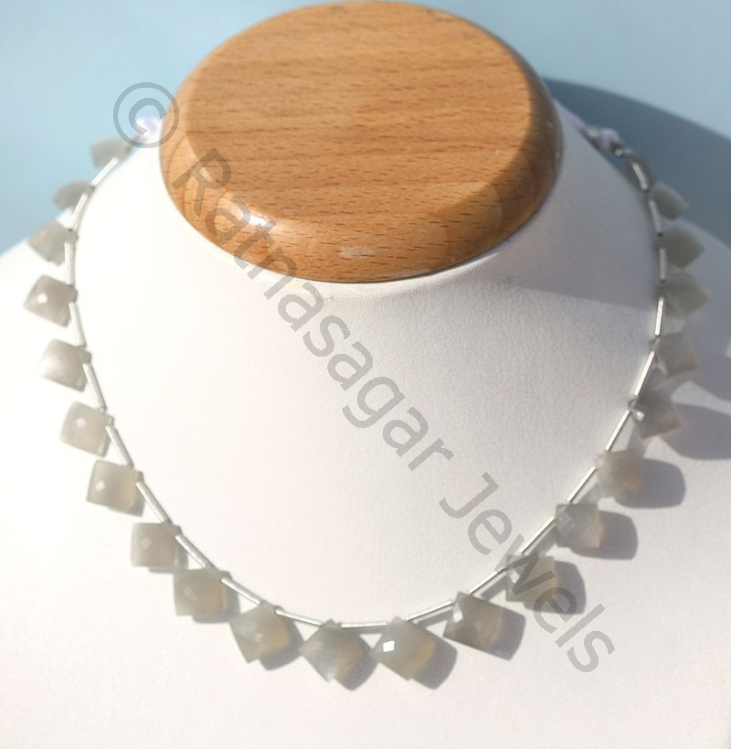 Grey Moonstone  Cushion Beads