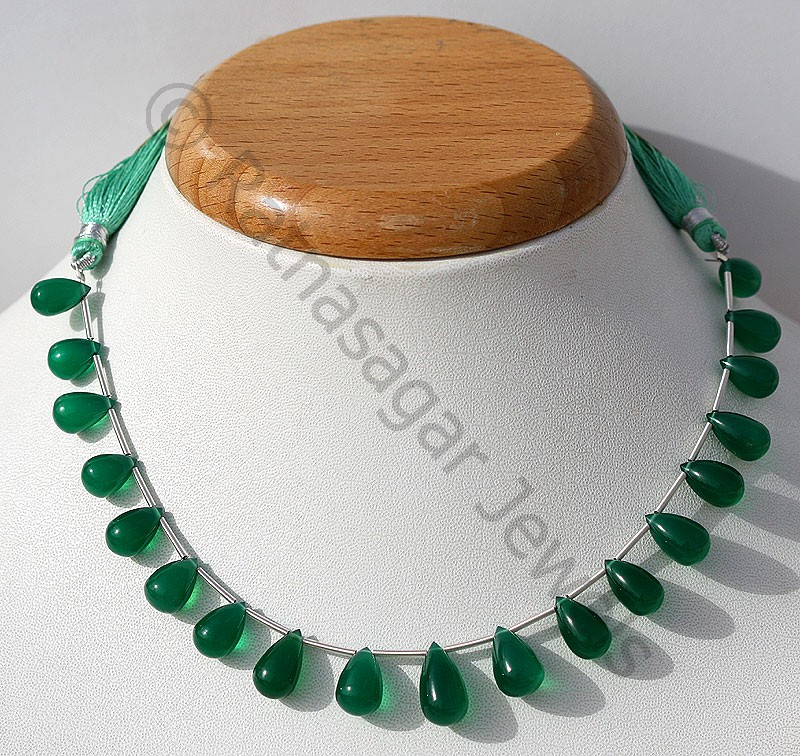 Green Onyx Tear Drops Plain