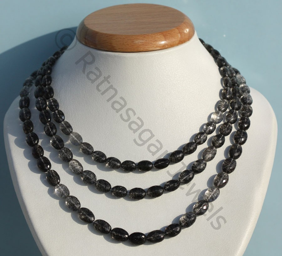 Black Rutilated Quartz  Oval Faceted