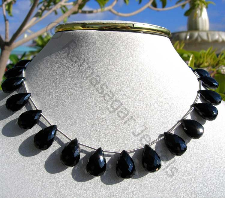 Black Spinel  Flat Pear Briolettes