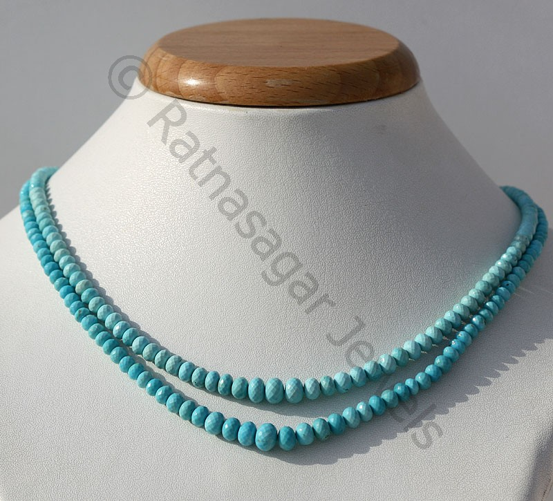Sleeping Beauty Turquoise  Faceted Rondelles