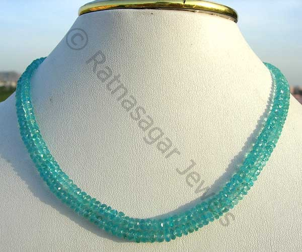 Apatite Gemstone Beads Faceted Rondelle