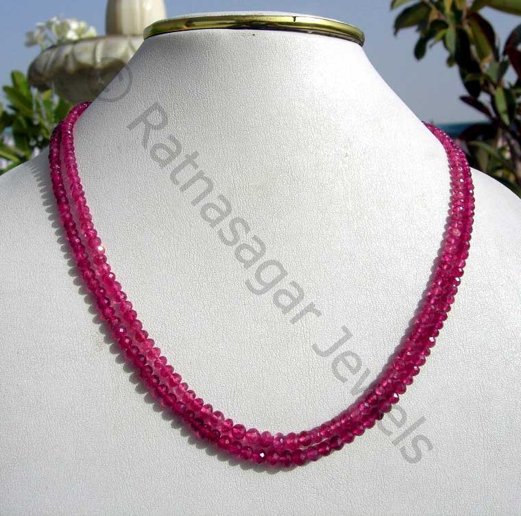 Pink Tourmaline Gemstone  Faceted Rondelles