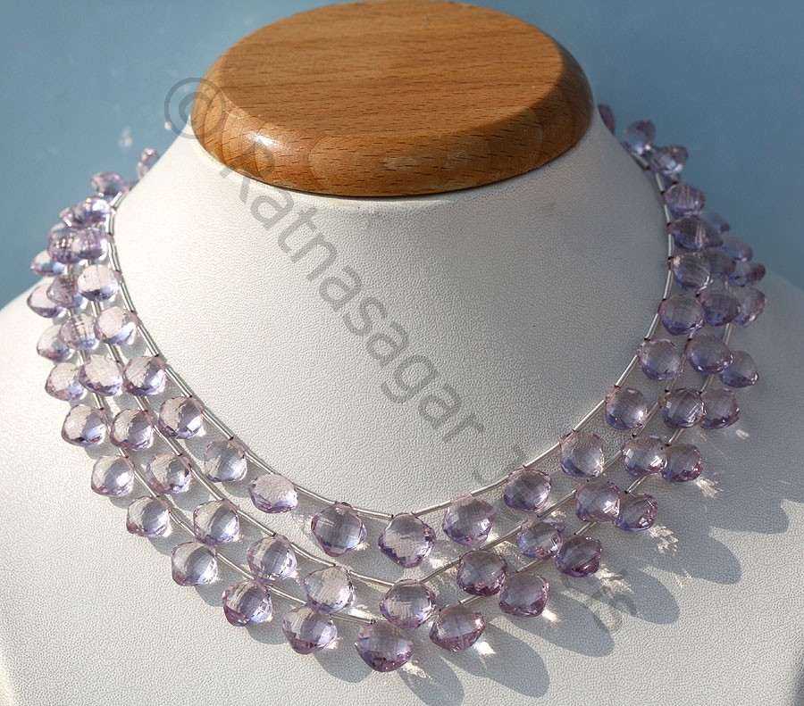 Pink Amethyst  Puffed Diamond Cut