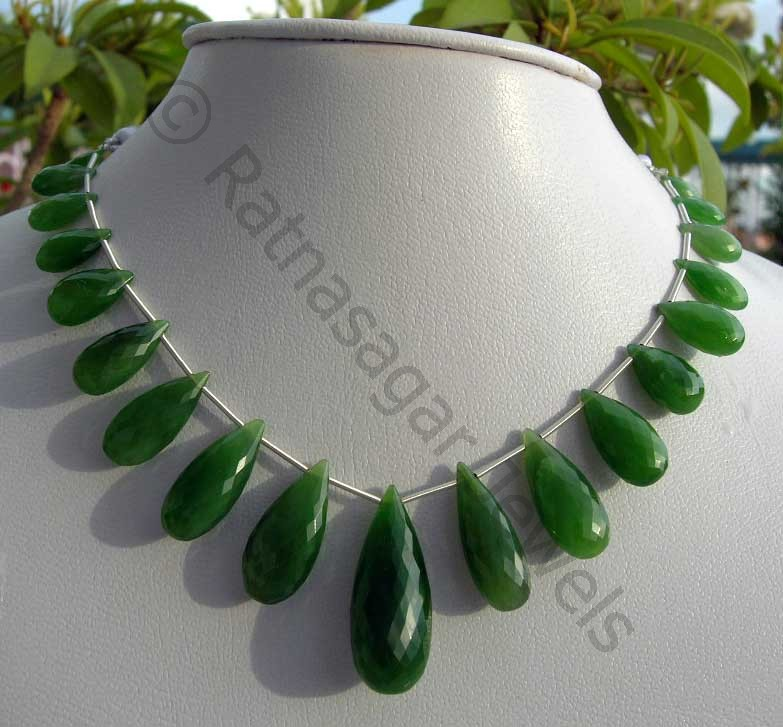 Nephrite Cats Eye Flat Pear Briolette