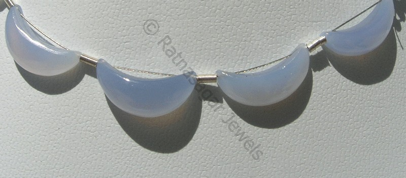 Chalcedony Gemstone  Moon Shape