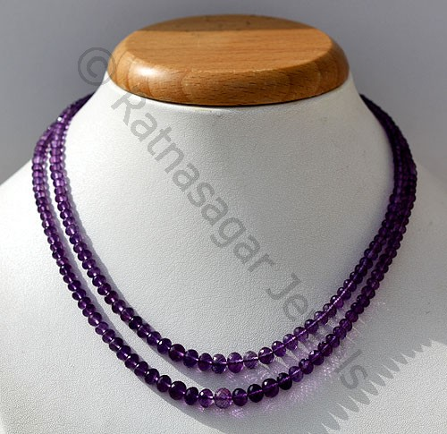 Amethyst Gemstone Beads Faceted Rondelle