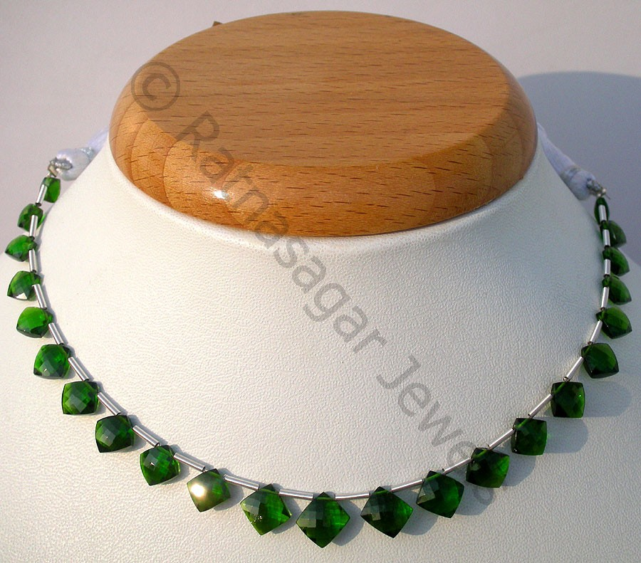 Chrome Diopside Puffed Diamond Cut Cushion Shape