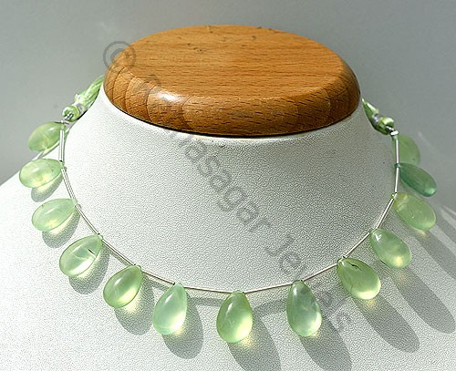 Prehnite Gemstone  Flat Pear Plain
