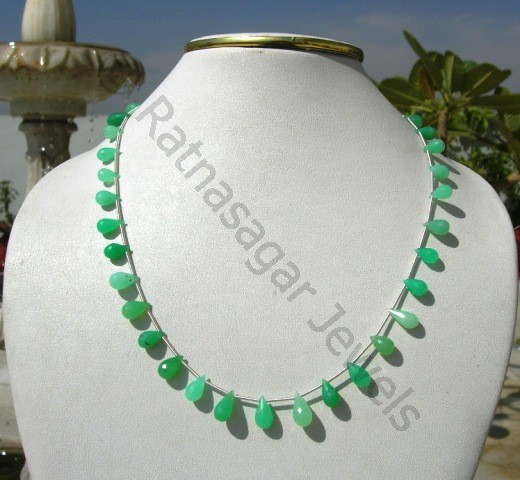 Chrysoprase Gemstone Tear Drops Briolette