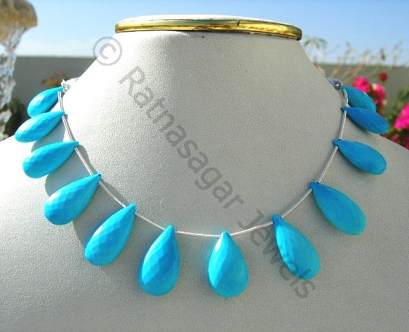 Turquoise Gemstone Flat Pear Briolette
