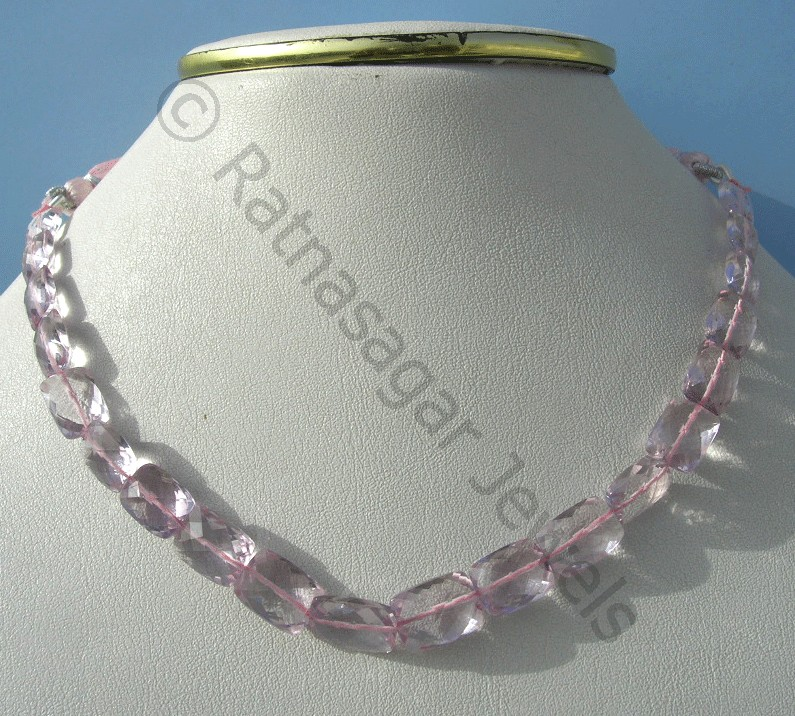 Pink Amethyst  Faceted Rectangles