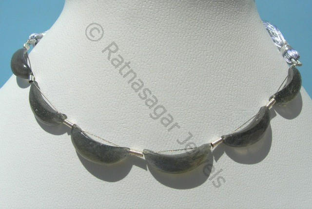 Labradorite Gemstone  Moon Shape Beads