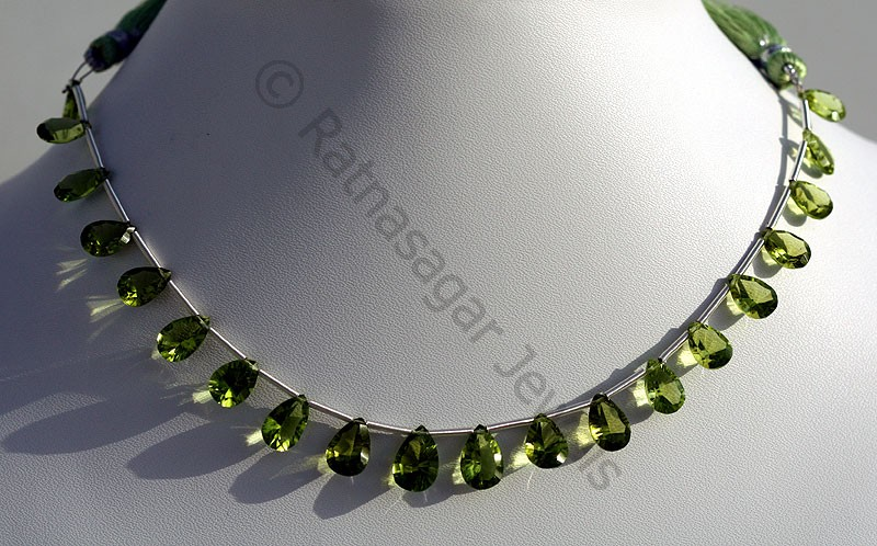 Peridot Gemstone Beads  Concave Cut Pan