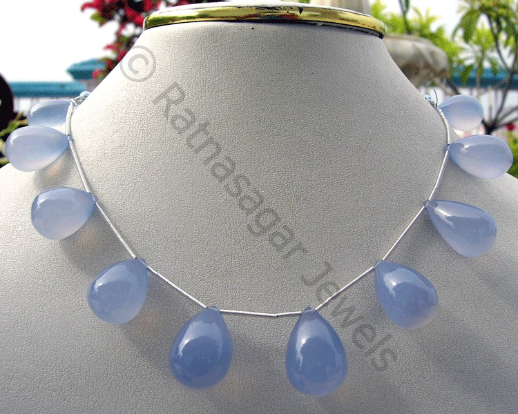 Chalcedony Gemstone Plain Tear Drops