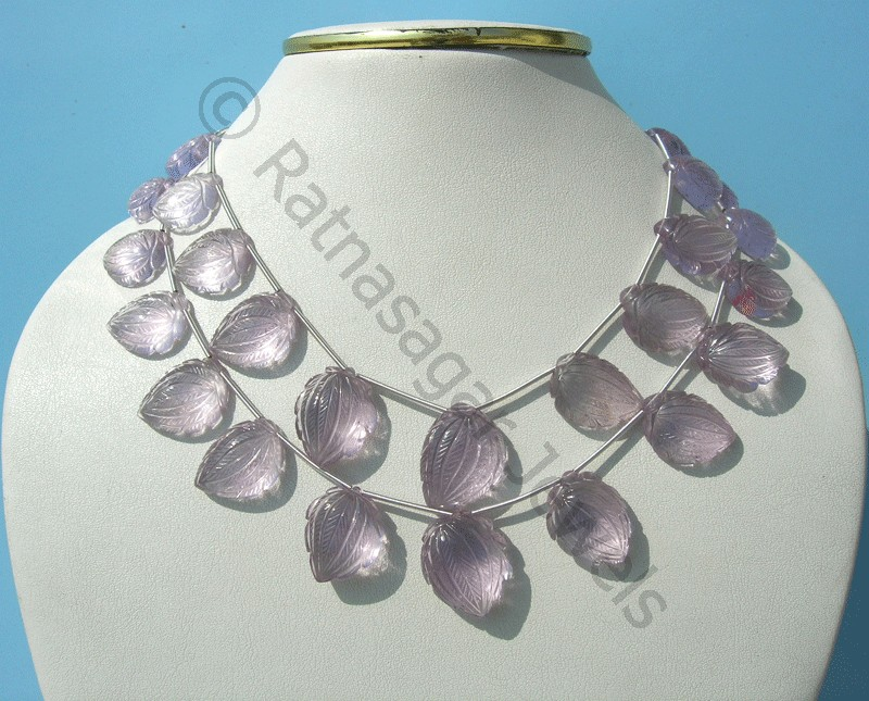 Pink Amethyst Carved Beads