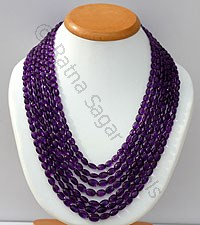 Amethyst Gemstone Faceted Oval Necklace