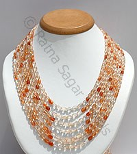 Sun Stone Oregon Faceted Oval Necklace