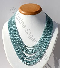 Blue Zircon Faceted Round Necklace