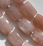 Pink Moonstone Faceted Rectangle