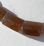 Coffee Moonstone Faceted Rectangle