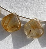 Golden Rutilated Quartz Twisted Heart briolette