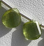 Peridot Gemstone Beads-Twisted Heart Briolette