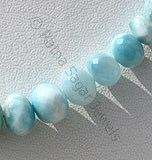 Larimar Gemstone Faceted Rondelle