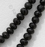 Black Spinel  Faceted Rondelles