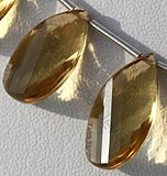 Honey Quartz Gemstone Twisted Flat Pear