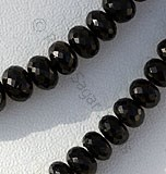 Black Tourmaline Gemstone Faceted Rondelle