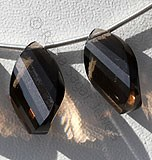 Smoky Quartz Gemstone  Twisted Flat Pear
