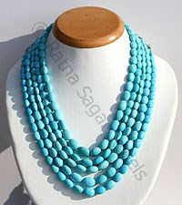 Sleeping Beauty Turquoise Oval Faceted Necklace
