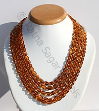Citrine Gemstone Oval Faceted Necklace