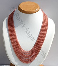 Rhodochrosite Gemstone Faceted Rondelle Necklace